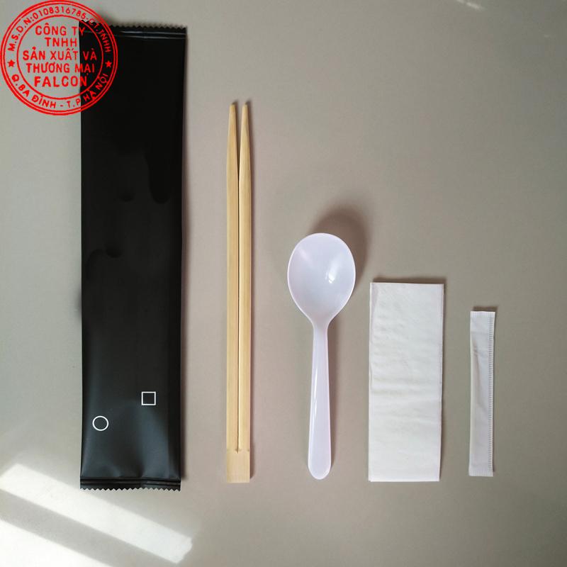 Bộ sản phẩm combo đũa thìa khăn và tăm dùng cho nhà hàng, quán ăn