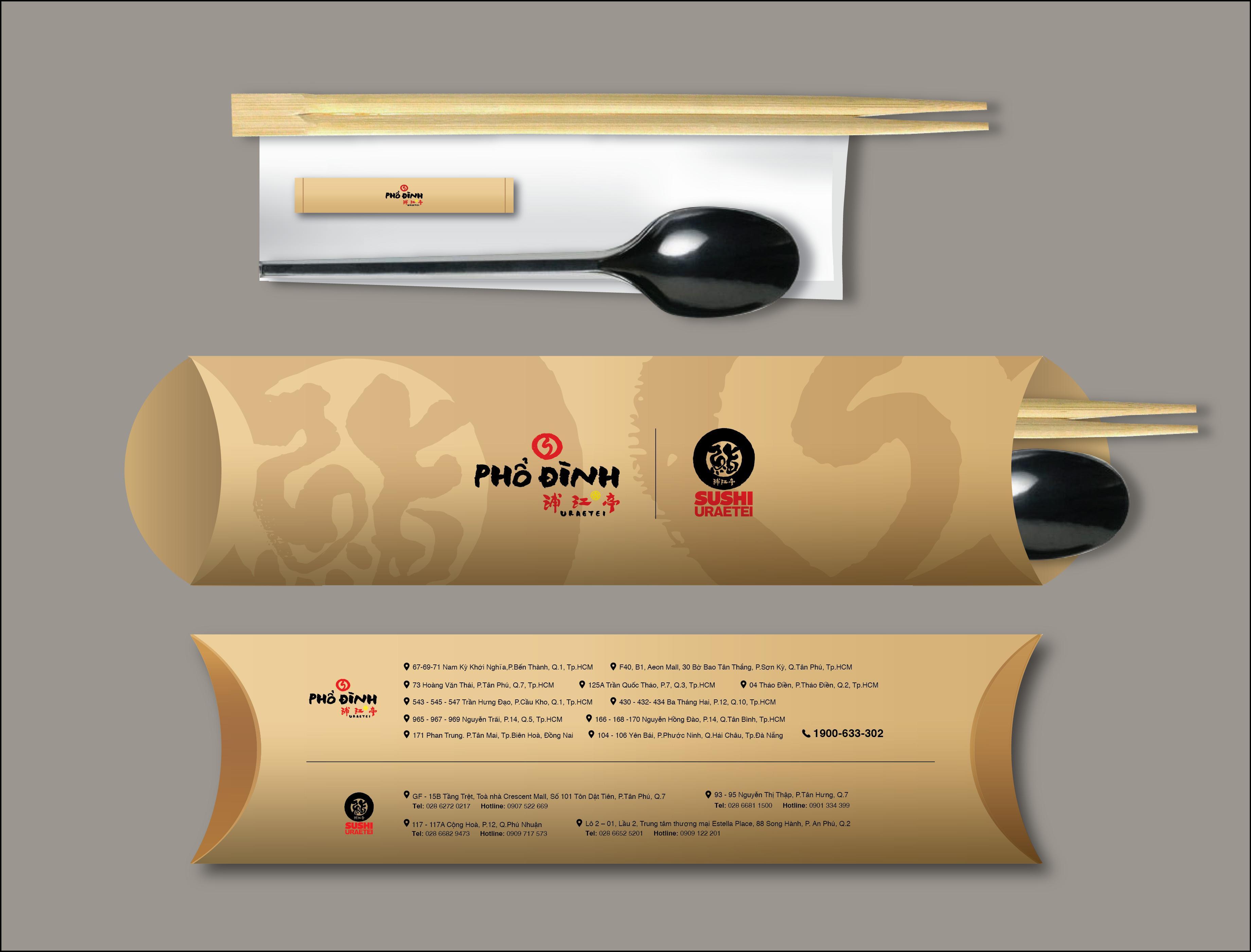 Bộ sản phẩm thìa đũa in logo thương hiệu nhà hàng